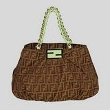 Fendi First Choice for The Season 2293 cloth with green leather shoulder bag light