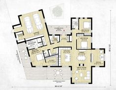 This modern design floor plan is 2116 sq ft and has 3 bedrooms and has bathrooms. Ranch House Plans, Dream House Plans, Modern House Plans, Small House Plans, House Floor Plans, Modern Floor Plans, Modern Ranch, Architecture Plan, Home Decor Bedroom