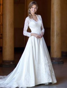Fashionable v-neck natural waist lace wedding dress,wedding dress outlet,wedding dress outlet,wedding dress outlet