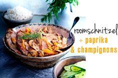 roomschnitzel met paprika & champignons
