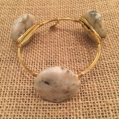 Bourbon and Boweties White and Gray Round Marble Bangle Standard Wrist
