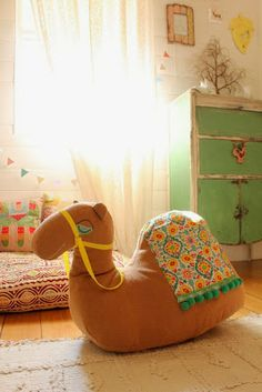 Rideable stuffed Camel!  Perfect for a whimsy kid's room--better than a rocking horse!
