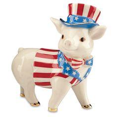Patriotic Pig Figurine