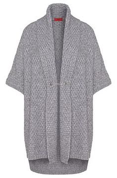 Short-sleeved cardigan with shawl collar with wool and alpaca: 'Sueanne', Open…
