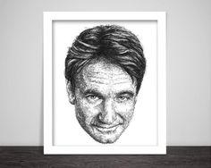 scribbled face of Robin Williams   --------- Details --------  High-quality art-print from original ink drawing. (The frame is not included, for