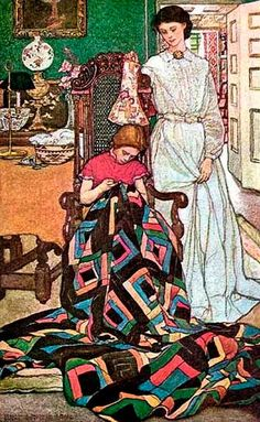 "Illustration for ""The Thousand Quilt,"" 1900 in Harper's Monthly Magazine, December 1904 -- by Elizabeth Shippen Green (American, Images Vintage, Vintage Art, Amy Butler, Wow Art, Sewing Art, Children's Book Illustration, Vintage Sewing, Quilt Patterns, Doll Patterns"