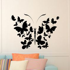 Designs Discover Butterfly Wall Decal Vinyl Sticker Butterfly Decal Interior Design Wall Art Nursery Girls Bedroom Living Room Home Decor Art Mural Stencil Designs, Wall Art Designs, Paint Designs, Wall Painting Decor, Diy Wall Decor, Art Mural Papillon, Butterfly Wall Decals, Silhouette Art, Butterfly Design
