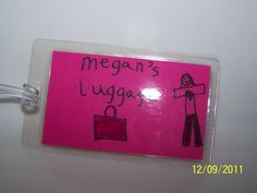 Homemade laminated luggage tags
