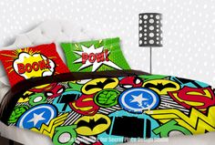 THIS LISTING IS FOR A COMFORTER OR DUVET COVER & PILLOW CASE(s)  Inspired by your favorite Superhero characters this colorful and fun boys bedding will put some SHAZAM into his bedroom.  Available in Toddler, Twin, Twin XL, Full/Queen, & King sizes. The main listing photo (Image 1) is to scale for a 90x90 inch full/queen comforter/duvet.   MATCHING ITEMS  ✦ FABRIC SHOWER CURTAIN https://www.etsy.com/listing/250118168/superhero-shower-curtain-sup...