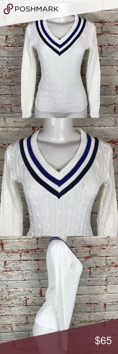 Ralph Lauren Tennis Sweater Size Small NWT $198 Ralph Lauren US Open Tennis Sweater Size Small NEW Women's Knit Top V Neck Shirt $198