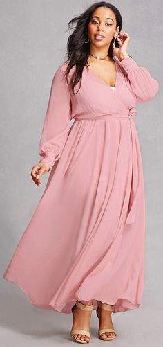 0a096f1bc6d0 Plus Size Surplice Maxi Dress Plus Size Maxi Dresses