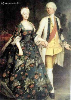 Princess Sophie and Her Husband Markgraf Friedrich Wilhelm von Brandenburg-Schwedt by Pesne, 1734  Marriage portrait. Schloß Charlottenburg, Berlin