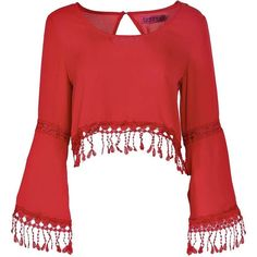 Boohoo Yazzmin Crochet Tassel Trim Crop Blouse featuring polyvore, fashion, clothing, tops, blouses, shirts, crop tops, blusas, long sleeves, red shirt, red blouse, women tops, crochet shirt and crop top
