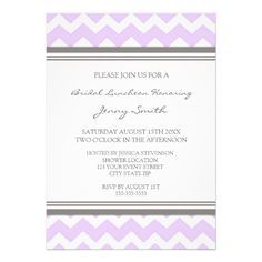 Lilac Gray Chevron Bridal Lunch Invitation Cards