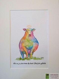 Aquarell - 'Das bunte Schaf der Familie- heute: das Unschuldslamm' Aquarellbild 18x24cm - ein Designerstück von ©  wandklex Ingrid Heuser, Ratzeburg, Germany im kleinen Klexsho bei DaWanda auf http://de.dawanda.com/shop/wandklex