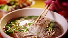 Guy visits a Vietnamese restaurant to sample their Asian noodle bowl, Pho.