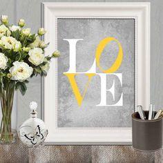 Grey And Yellow Wall Decor yellow grey chevrons wall art, gray yellow decor, grey yellow wall