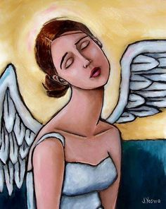 Angel Nap by Jennifer Yoswa Art Sketches, Art Drawings, Pottery Angels, Art Fantaisiste, Art Visage, Angel Artwork, Angel Images, Cross Art, Art Journal Inspiration