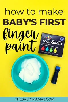 Looking for a sweet way to try your first baby art project? Try our edible fingerpaint recipe made from yogurt! Read the full details of this amazing process based toddler art project (and get the SUPER easy edible paint recipe!) at TheSaltyMamas.com. #babyartprojects #babies #baby #art #toddler #toddlerart #toddlerartproject #kidsart #ediblefingerpaint #fingerpaintrecipe #fingerpaints #fingerpaintsforbabies #momlife #art #artforkids Toddler Preschool, Toddler Crafts, Preschool Crafts, Edible Finger Paints, Edible Paint, Toddler Art Projects, Cool Art Projects, Easy Crafts For Kids, Art For Kids