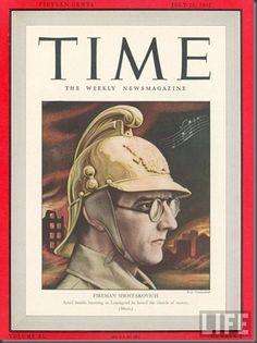 Helilooja Dimirti Šostakovitš, 20. juuli 1942 Time' kaanel / Composer Dimitry Shostakovitch on the cover of Times magazine, July 20, 1942
