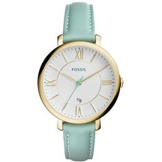 Fossil 'Jacqueline' Leather Strap Watch, 36mm (1 260 ZAR) ❤ liked on Polyvore featuring jewelry, watches, roman numeral watches, fossil jewelry, slim watches, roman numeral jewelry and leather strap watches