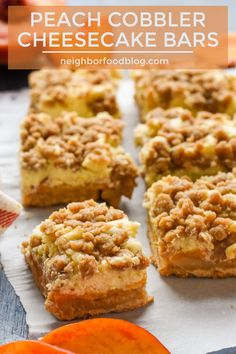 These Peach Cheesecake Bars are the best of both worlds! They taste like cool, c… These Peach Cheesecake Bars are the best of both worlds! They taste like cool, creamy peach cheesecake combined with buttery peach cobbler! The perfect summer dessert. Dessert Party, Oreo Dessert, Bon Dessert, Dessert Aux Fruits, Peach Cheesecake, Cheesecake Bars, Cheesecake Recipes, Caramel Cheesecake, Köstliche Desserts
