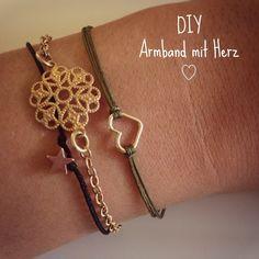 DIY Geschenk Idee. Ein Herz für die beste Freundin.super niedliche feine Armbändchen ! Und soooo easy....