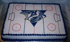Nashville Predators Hockey Cake on Cake Central Hockey Birthday Cake, Hockey Birthday Parties, Hockey Party, Themed Birthday Cakes, Birthday Treats, 5th Birthday, Hockey Cakes, Predators Hockey, Diy Cake