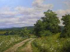 Summer Afternoon, Sudbury, Vermont by Andrew Orr Oil ~ 18 x 24 Contemporary Landscape, Abstract Landscape, Landscape Paintings, Watercolor Architecture, Watercolor Painting Techniques, Painting Gallery, Traditional Paintings, Cool Landscapes, Pictures To Paint