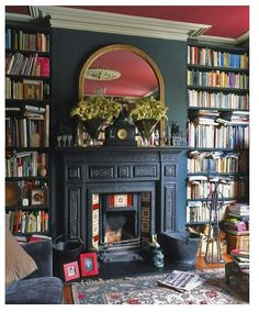 Library Room design ideas and photos to inspire your next home decor project or remodel. Check out Library Room photo galleries full of ideas for your home, apartment or office. Fireplace Mantel Decor, Home Library Design, Inspired Homes, Eclectic Living Room, Room Design, Interior, Home, Home Libraries, Apartment Living Room
