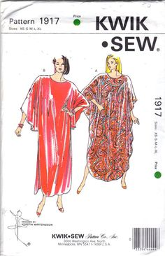 $18.  1989.  Kwik Sew 1917 Caftan / Kaftan: Very loose-fitting pullover styles with boat neckline. View A has open sides. View B has sleeve extensions and side hemline slits (shirt hemline with slits up the sides).  Designed by Kerstin Martensson.