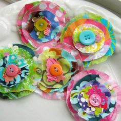 Flower Embellishments, Fabric Flowers, Fabric Embellishments, Scrapbook Flowers,  Flower Appliques, Button Flowers, Set of 5 - No. 720. $5.25, via Etsy.