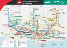 Metro map of the Barcelona, Spain integrated railway network. Metro Train Map, Map Metro, Airport Transportation, Transportation Design, Air France, Barcelona Travel, Barcelona Spain, Madrid, Barcelona Pavilion