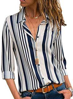 Weant Womens Tops Long Sleeve Cotton Lien Stripe Print Button Casual Shirts Tops Work Office Workwear Shirt Ladies Plain Long Sleeved T-Shirt Size S-2XL