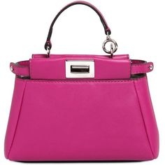 FENDI Micro Peekaboo Nappa Leather Bag - Fuchsia featuring polyvore, fashion, bags, handbags, shoulder bags, snap bags, pink handbags, fuschia handbag, fendi bags and fuschia purse
