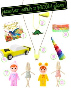 Even the Easter bunny loves neon, colorful goodies! Here's a collection of sweet things we can picture in any Easter basket!   www.treehousekidandcraft.com
