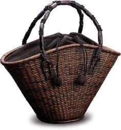By Kenichi Mouri. Paper Basket, Basket Bag, Wicker Purse, Wicker Baskets, Paper Shaper, Bamboo Art, Basket Crafts, Basket Liners, Handmade Bags