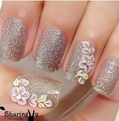 Glitter Nails & Floral Art accents