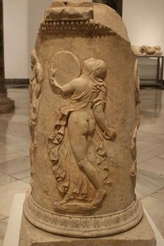 Photo by Karin Welss. The Archaeological Museum, in Seville, which featured many artifacts discovered in Hispalis (Seville) as well as the neighboring Roman town of Italica and various rural villas. Bacchante from a decorative plinth found in Italica. 2016