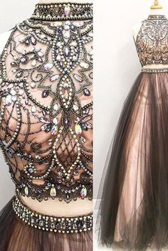 Beaded prom dress, tow pieces prom dress, cute chocolate tulle long prom dress with beautiful top details