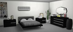 LEO-SIMS • Letto Bed - 3 swatches Trinity Dresser - 5...