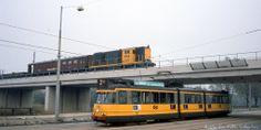 Amsterdam: crossing train and tram, somewhere around 1980-1985