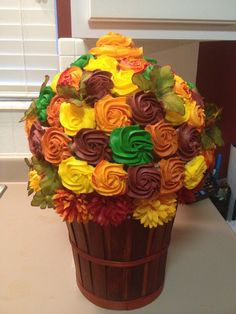 Fall colored cupcake bouquet