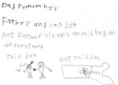 funny dad day drawings with bed | ... lays a major guilt trip on his dad with a note and drawing - 22 Words