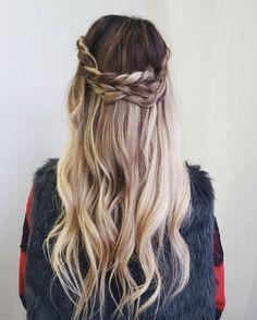 Curled half crown braid by Mackenzie