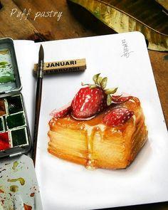 Sweet 'puff ' berry watercolor on sketchbook Food N, Food And Drink, Cute Food, Yummy Food, Sweet Drawings, Dessert Illustration, Food Sketch, Watercolor Cake, Food Painting