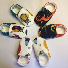 """Sneak peak to my colorful Florida """"winter edition"""" These vibrant owls, lizards and feathers are easy to slip on/ stay on those tiny feet and keeps the toes cozy and warm. With the adjustable ankle strap the shoes are guaranteed to fit the right way! Soft Baby Shoes, Better Posture, Lizards, Baby Feet, Feathers, Ankle Strap, Espadrilles, Slippers, Florida"""