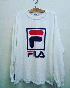 Vintage 90's FILA Sport Big Logo Crewneck Streetwear Casual Swag Hip Hop Run DMC…
