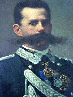 """King Umberto I and his Mighty Mustache I posted this for the mustache however my readers may also be interested in this curious story about Umberto… """" In Monza, Italy, King Umberto I, went to a small restaurant for dinner, accompanied by his. Charles Emmanuel, King Of Italy, Handlebar Mustache, Small Restaurants, European History, Coincidences, Facial Hair, Bearded Men, Make Me Smile"""