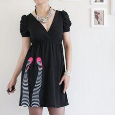 hand made knit dress pinterest | Handmade Applique Dress Black knit dress by Zoeslollipop on Etsy, $68 ...